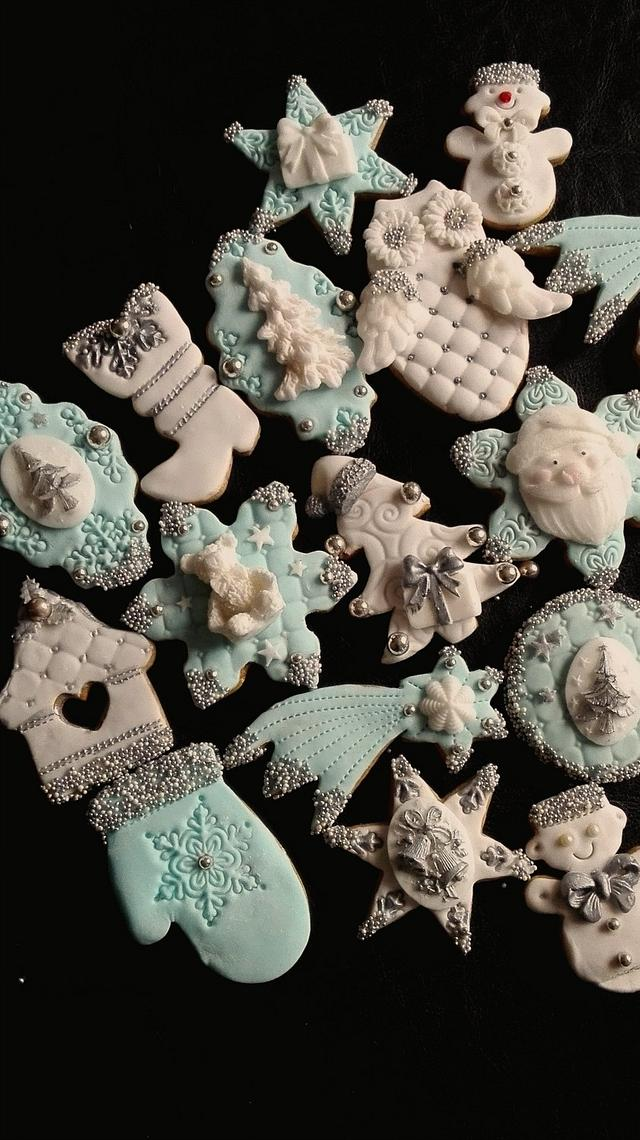 Blue Christmas Gingerbread cookies