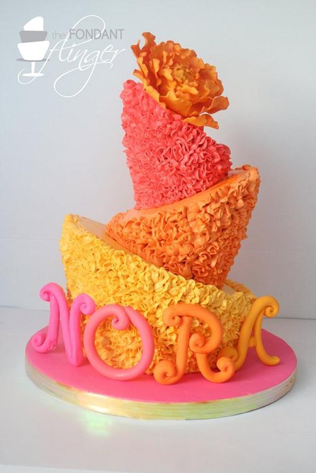 Ruffly topsy turvy peony cake