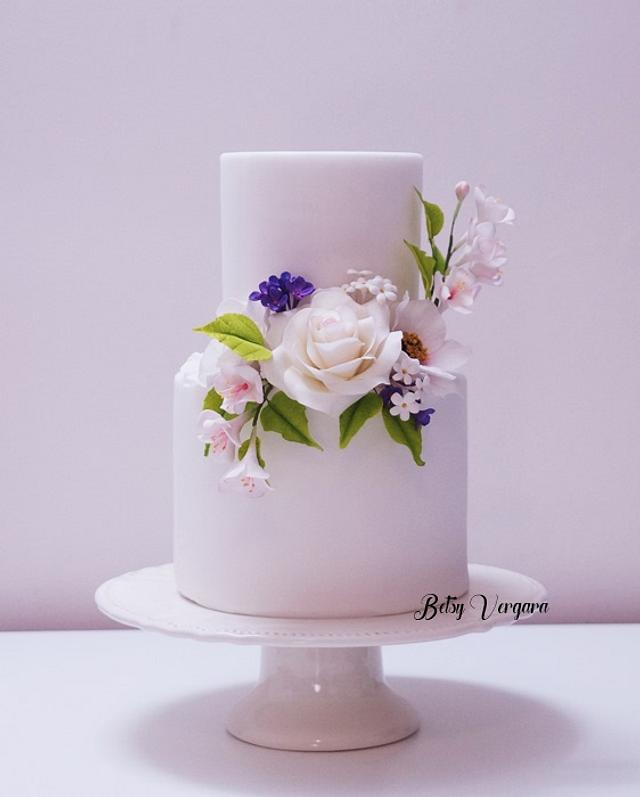 Rose and Cosmos flower Cake