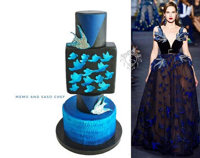 Beauty in blue and black couture cakers international collaboration 2018