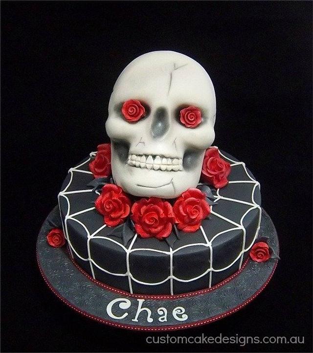 Skull and Roses Birthday Cake