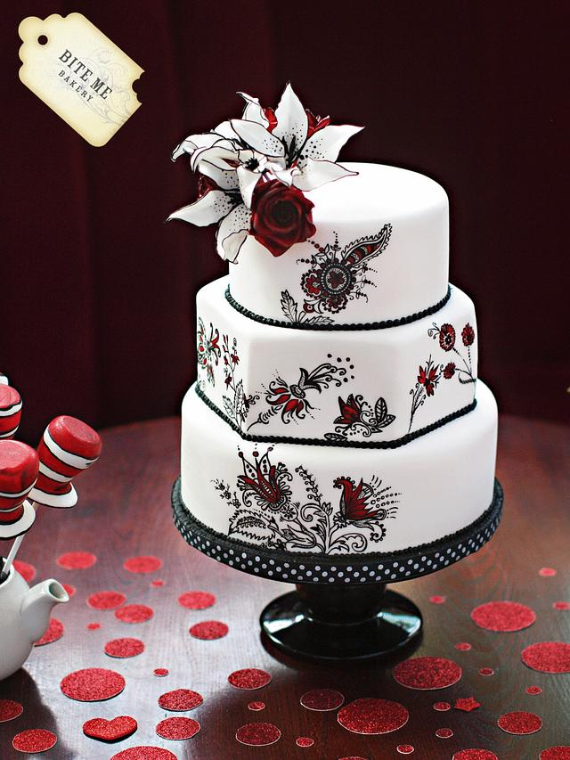 Cat in The Hat marries Jessica Rabbit - Wedding Cake