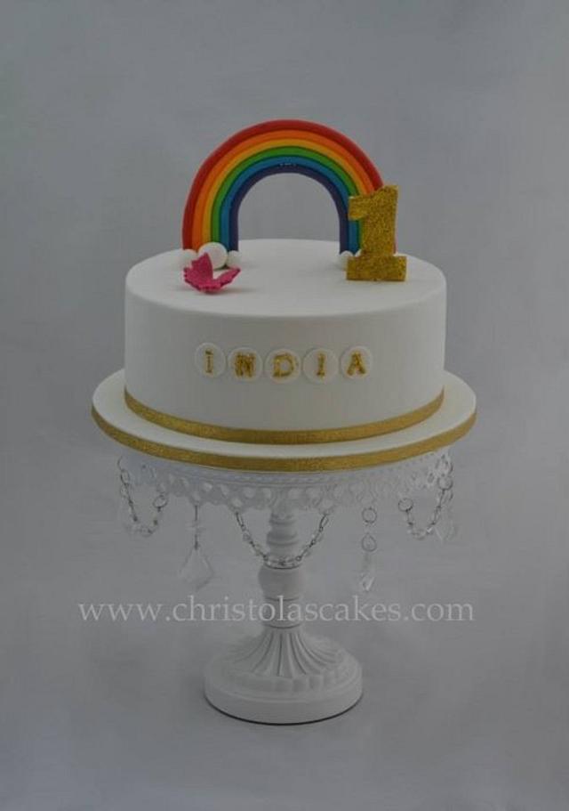 Phenomenal 1St Birthday Rainbow Cake Cake By Christolascakes Cakesdecor Personalised Birthday Cards Arneslily Jamesorg