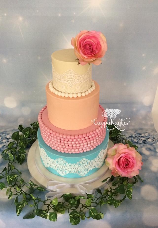 Lace & Pearl Pastel Wedding Cake