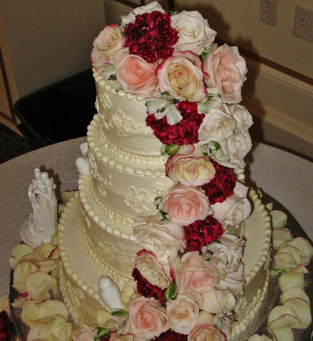 Floral abundance Wedding cake