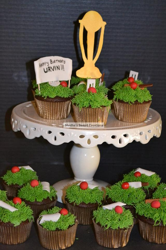 Cricket themed cupcakes for a big cricket fan!!!
