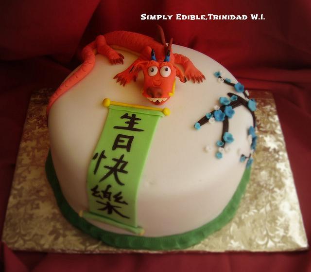 Mushu Dragon Theme Cake