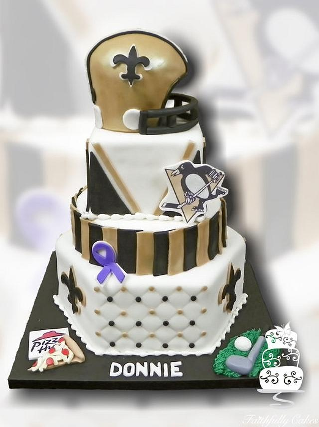 Stupendous New Orleans Saints Pittsburgh Penguins Birthday Cake By Cakesdecor Funny Birthday Cards Online Aeocydamsfinfo