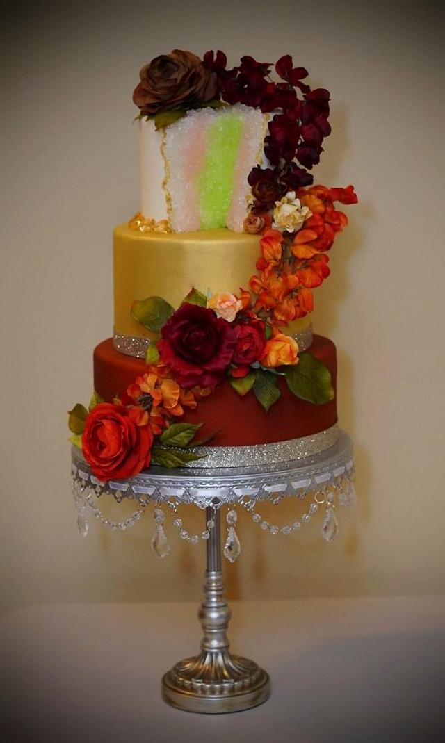 Fall Geode and Floral Cake