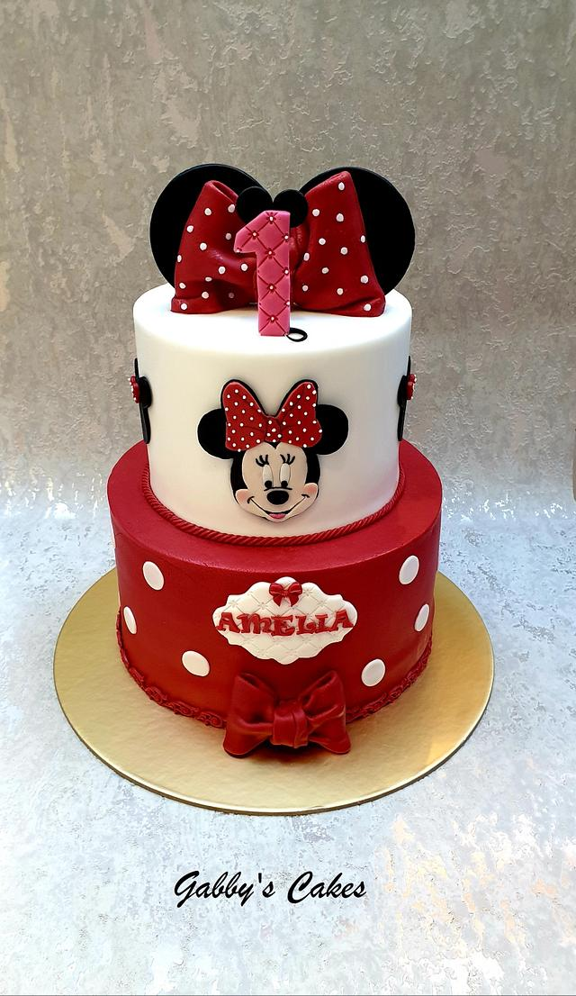 Peachy Minnie Mouse 1St Birthday Cake Cake By Gabbys Cakes Cakesdecor Personalised Birthday Cards Veneteletsinfo