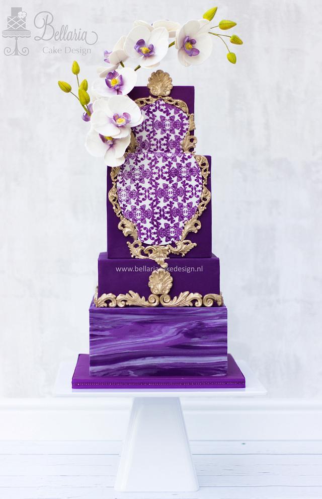 Purple gold rococo wedding cake