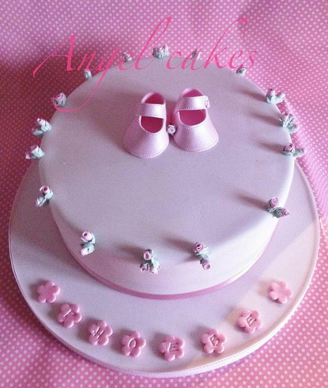 Rosebud christening cake