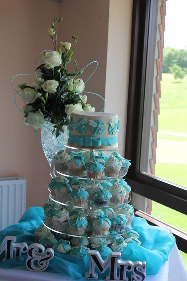 Caramel and Teal Dragonfly cake and cupcakes