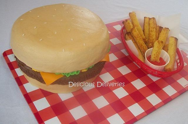 Cheeseburger and Fries Cake