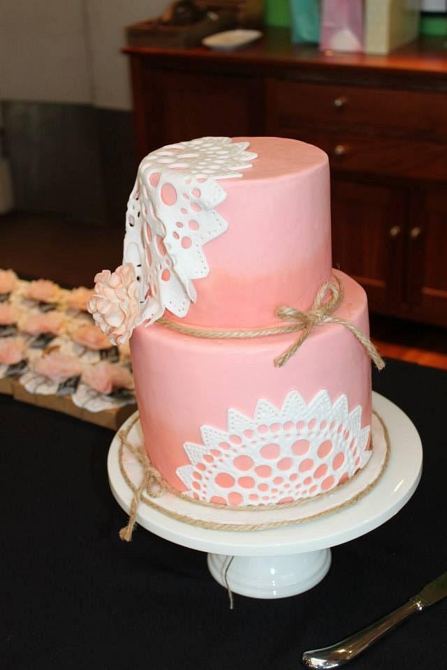 Doily & twine christening cake