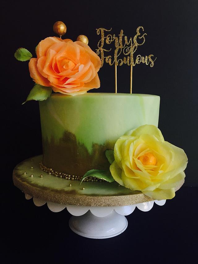 Garden rose cake