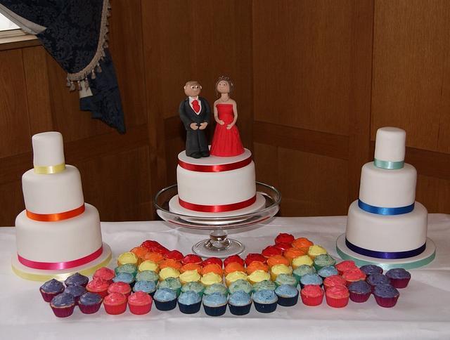 Rainbow Wedding Cakes and Cupcakes