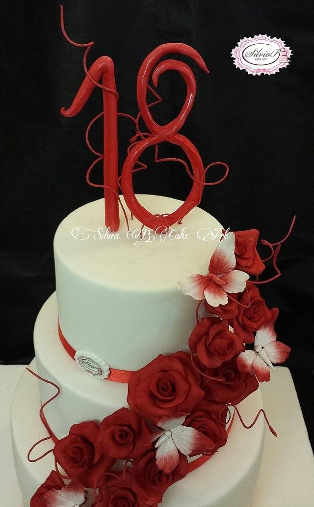 Fantastic Red And White 18Th Birthday Cake By Silvia B Cake Art Cakesdecor Funny Birthday Cards Online Chimdamsfinfo