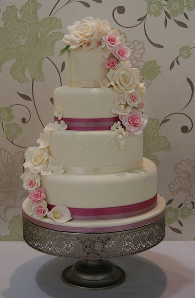 Rose & Hydrangea Cascade Wedding Cake