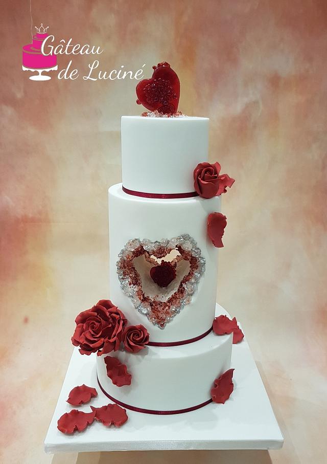 Ruby and white wedding cake
