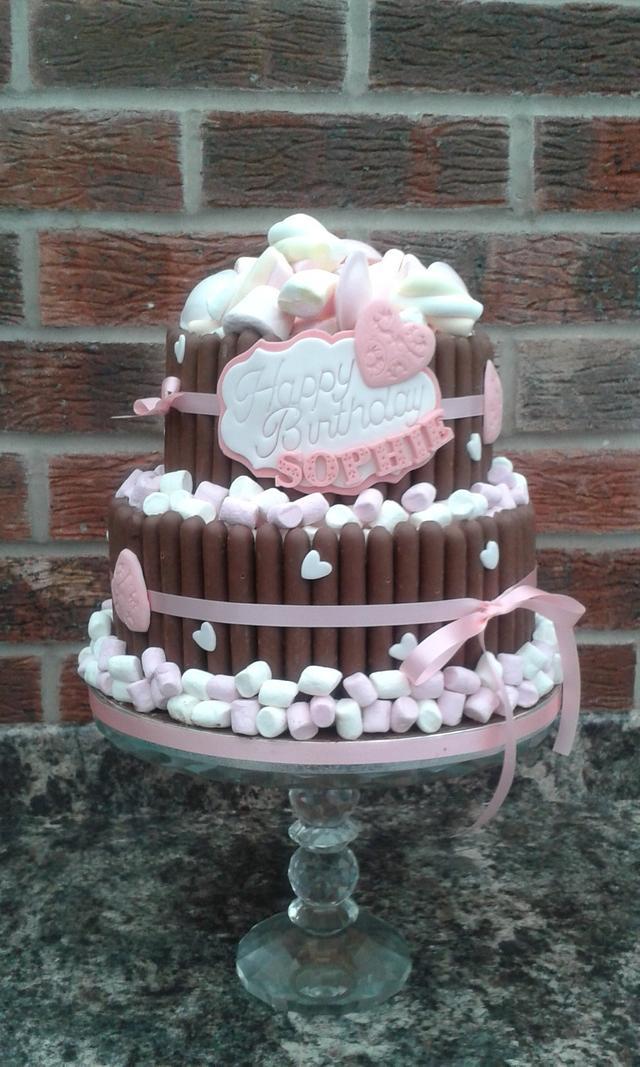 Chocolate fingers and Mallow cake