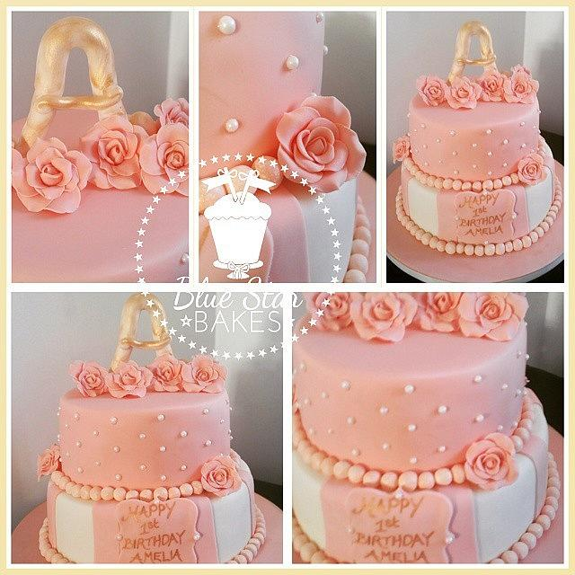 Phenomenal 1St Birthday Peach And Cream Roses Birthday Cake Cake Cakesdecor Personalised Birthday Cards Paralily Jamesorg