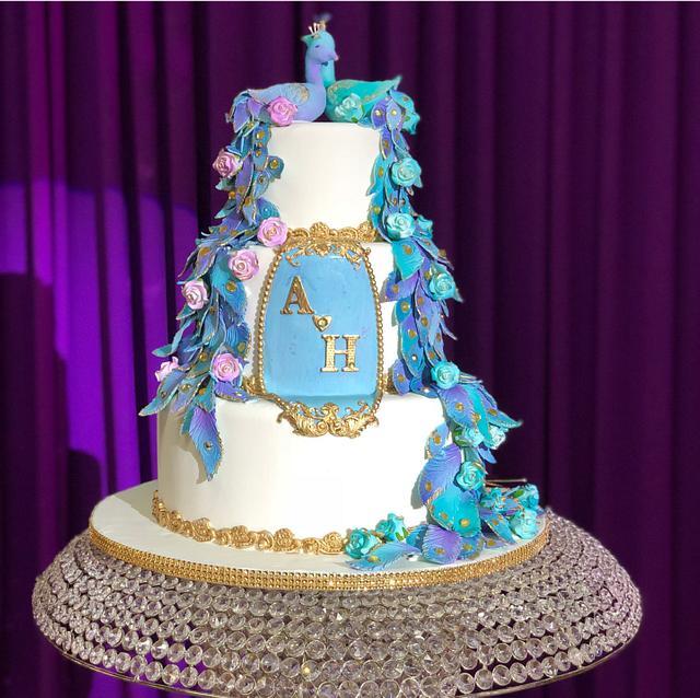 Wedding Cake- Peacock Themed