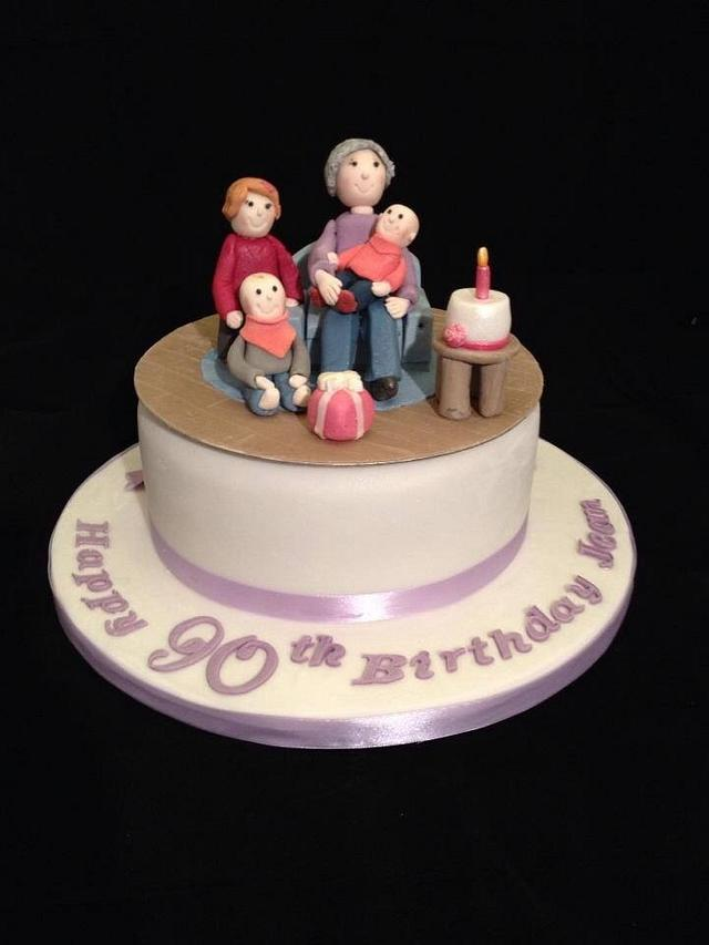 Pleasant 90Th Birthday Cake With Models Of The Birthday Lady And Cakesdecor Personalised Birthday Cards Rectzonderlifede