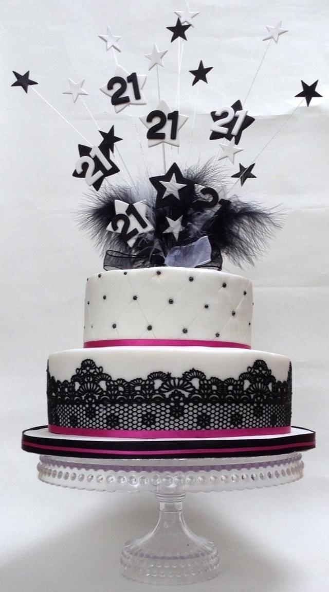 Astounding 21St Black And White Birthday Cake Cake By The Sweetest Cakesdecor Funny Birthday Cards Online Alyptdamsfinfo