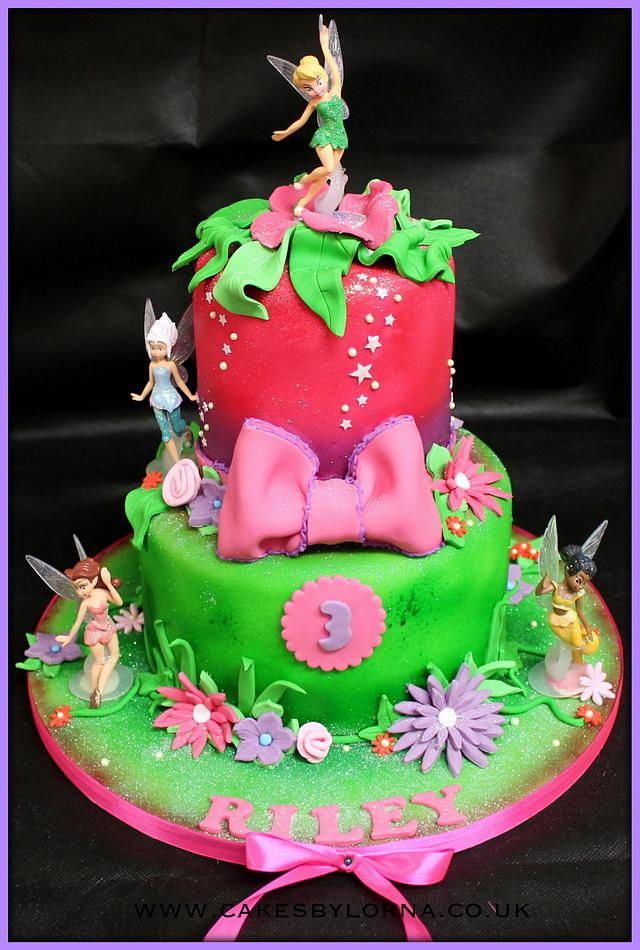Fine Two Tier Tinkerbell Birthday Cake Cake By Cakes By Cakesdecor Personalised Birthday Cards Cominlily Jamesorg