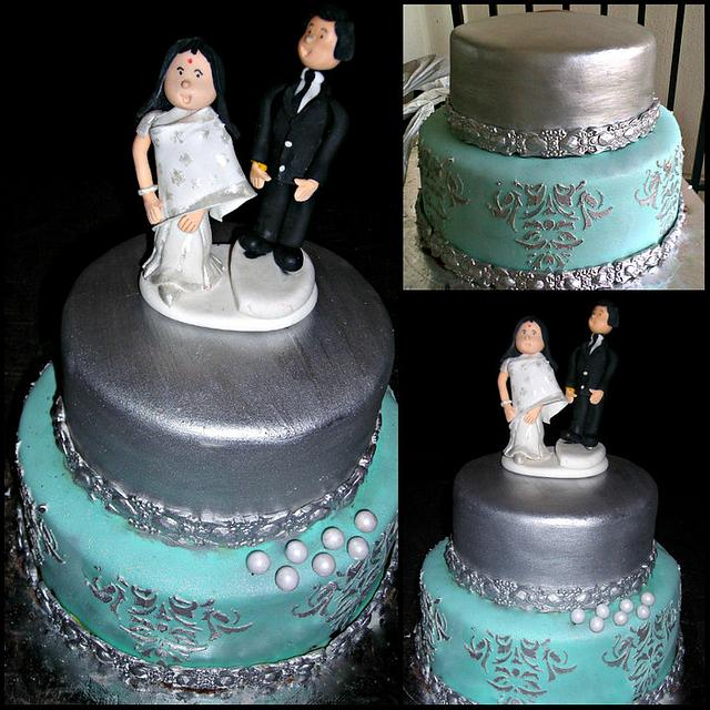 Silver Cake For A 25th Wedding Anniversary Cake By Ms K Cakesdecor