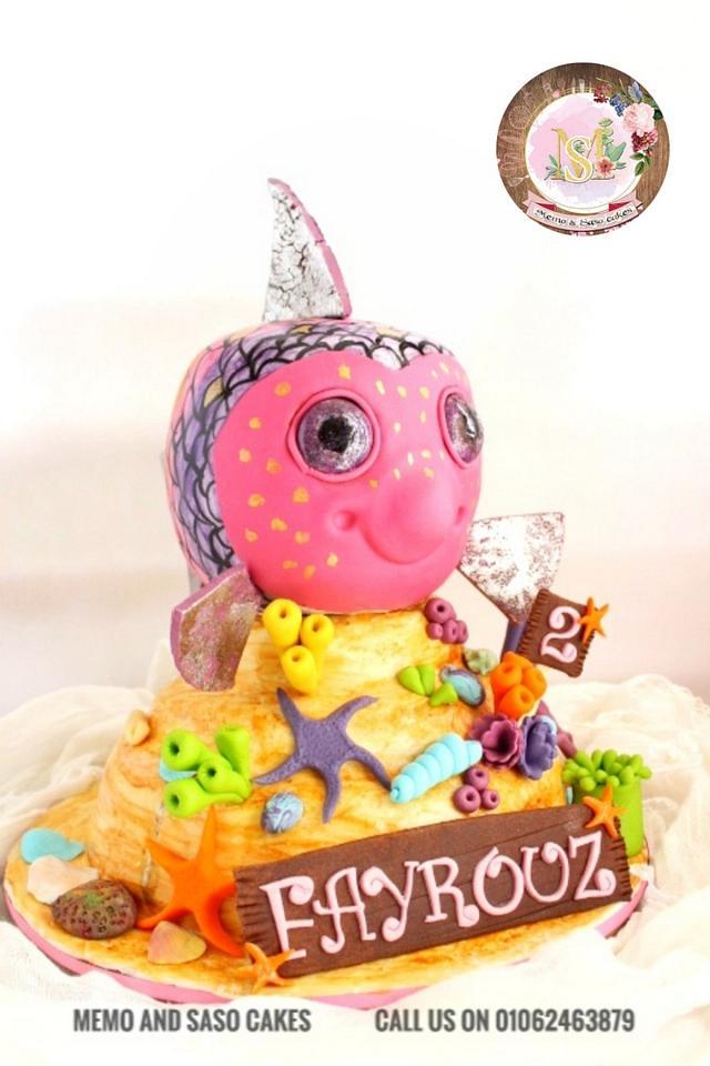 Surprising Rainbow Birthday Fish Cake By Mero Wageeh Cakesdecor Funny Birthday Cards Online Overcheapnameinfo
