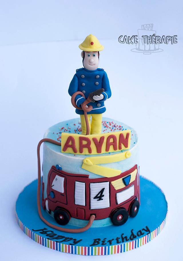 Fireman sam themed cake.