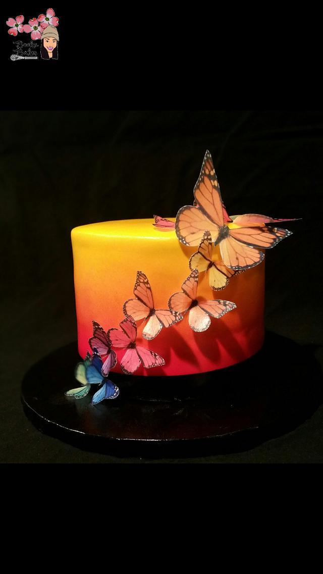 Sunset Inspired Edible Butterflies