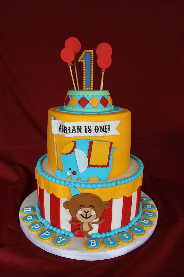 Superb Circus Themed Birthday Cake Cake By Sweet Shop Cakes Cakesdecor Funny Birthday Cards Online Elaedamsfinfo