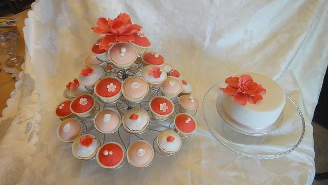 Wedding cake and cup cakes