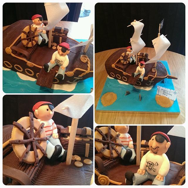 Marvelous Pirate Ship Birthday Cake Cake By Sarahs Crafty Cakes Cakesdecor Personalised Birthday Cards Bromeletsinfo
