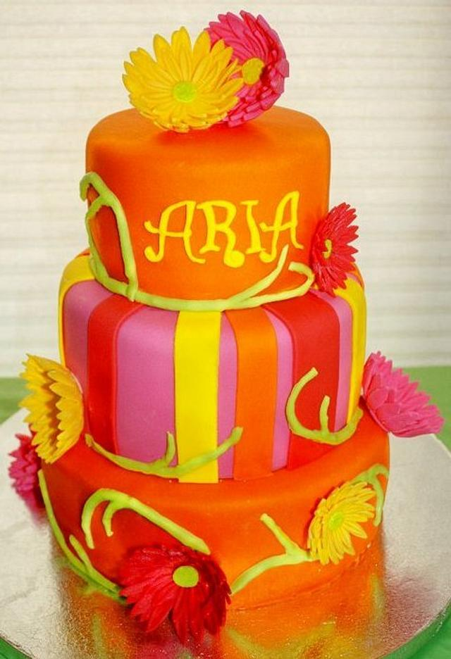 Bright orange and pink babyshower cake