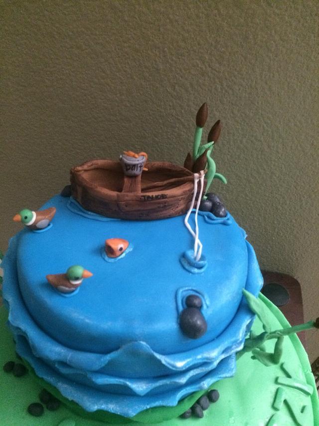 Fishing going away cake