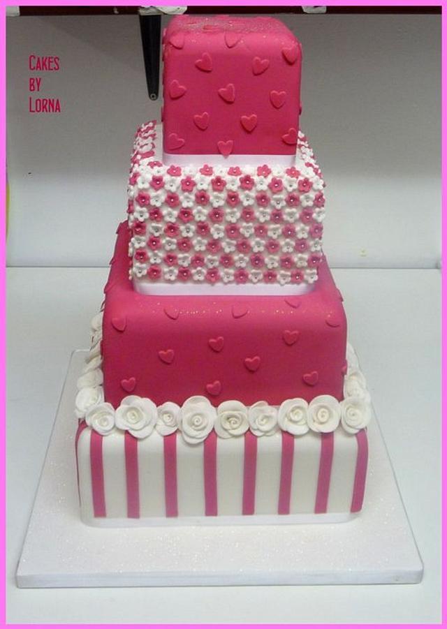 Hot Pink & White Wedding Cake