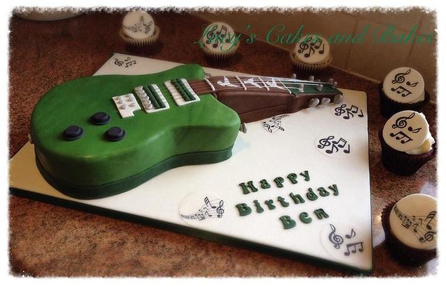 Pleasing Guitar Cake Based On Birthday Boys Favourite Guitar Cakesdecor Personalised Birthday Cards Akebfashionlily Jamesorg