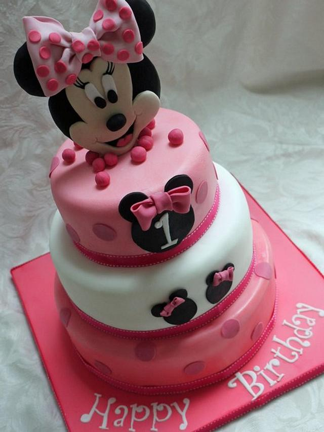 Sensational Minnie Mouse 3 Tier 1St Birthday Cake Cake By Scrummy Cakesdecor Personalised Birthday Cards Veneteletsinfo