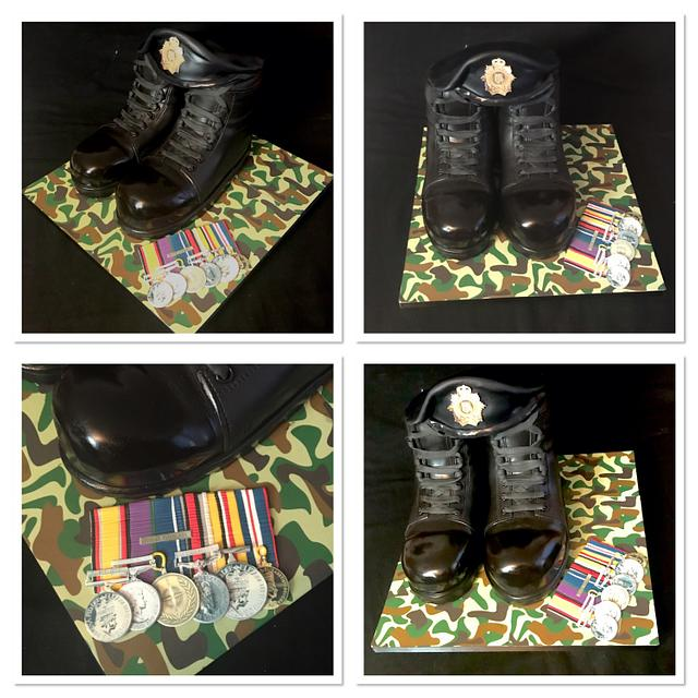 Military boots cake