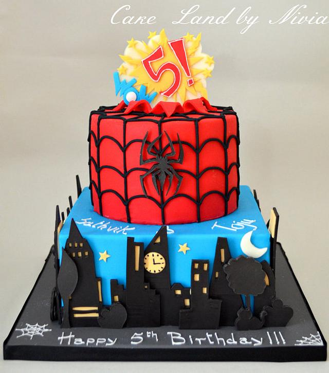 Incredible Spiderman Birthday Cake Cake By Nivia Cakesdecor Personalised Birthday Cards Paralily Jamesorg
