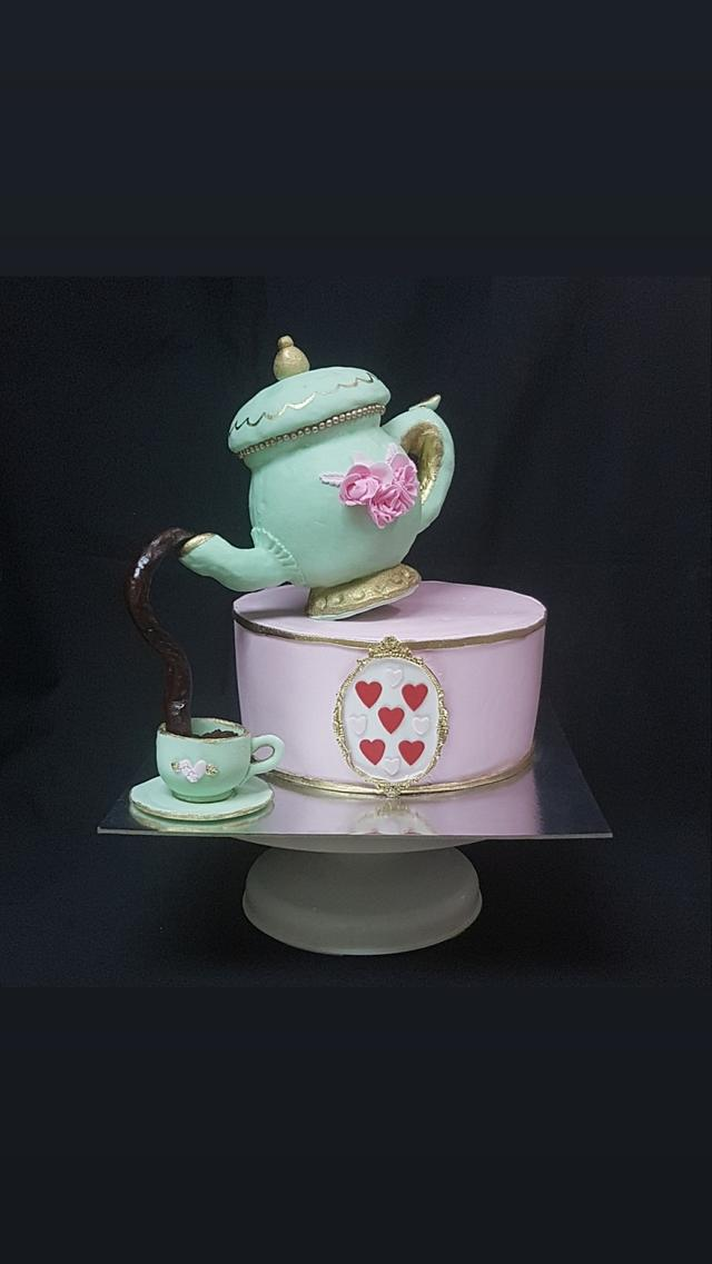 Fabulous Tea Party For Moms 50Th Birthday Cake By Torte Sweet Cakesdecor Funny Birthday Cards Online Inifodamsfinfo