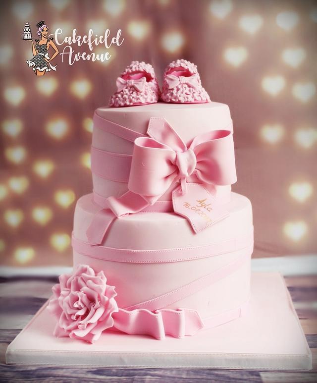 PRETTY IN PINK CHRITENING CAKE