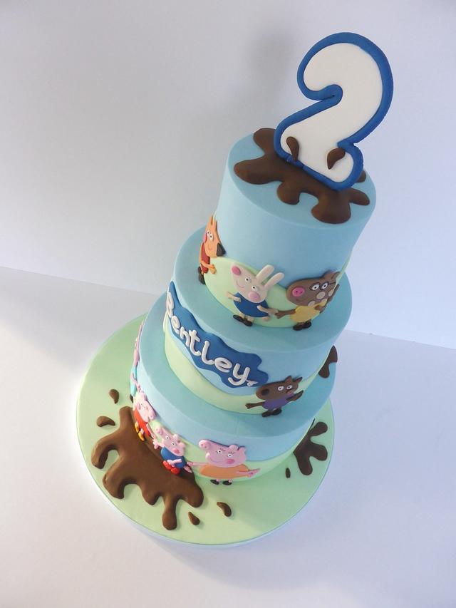 Peppa Pig! Muddy puddles birthday cake
