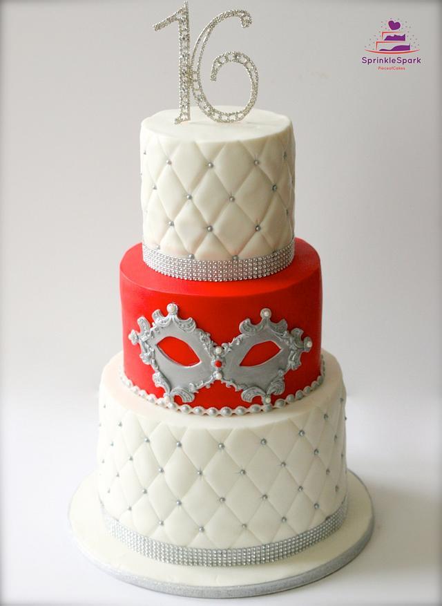 Amazing Masquerade Theme 16Th Birthday Cake Cake By Cakesdecor Funny Birthday Cards Online Alyptdamsfinfo