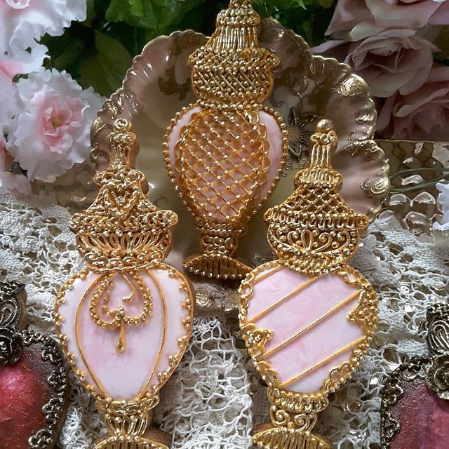 Perfume bottles in pink