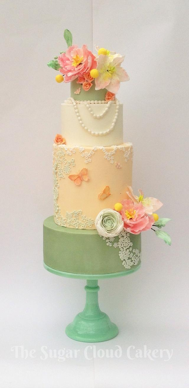 Bridal dress inspired wedding cake